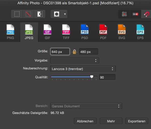 Affinity Photo: Export-Befehl