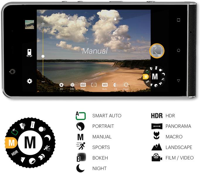 Kodak Ektra Smartphone Moduswahl