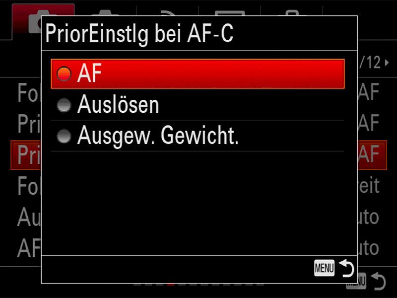 Alpha 99 II AF-Priorität