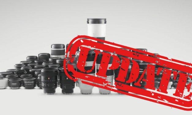 Sony veröffentlicht Firmware-Updates für zehn Objektive