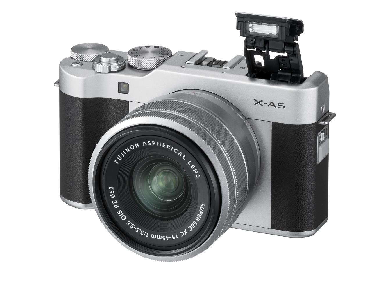 X-A5_Silver_FrontOblique_Flash_XC15-45mm_03_Titel