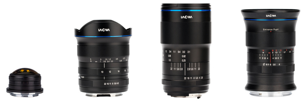 Vier neue Laowa-Objektive: Superweitwinkelzoom für Sony, MFT-Fisheye 2x-Makro und GFX-Weitwinkel
