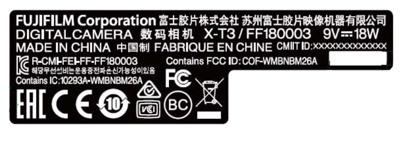 Fujifilm X-T3 Typenschild