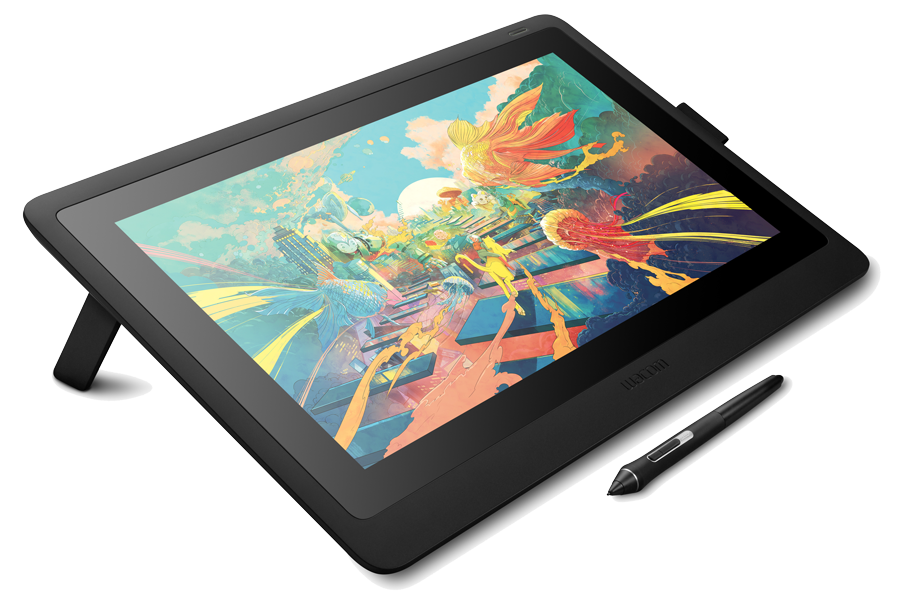 Cintiq-16_elevated-angle-view-left_foldable-legs_pen-below
