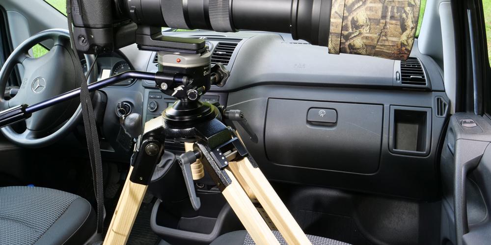 Berlebeach UNI-Auto – Eschenholzstativ für Aufnahmen vom Fahrersitz aus