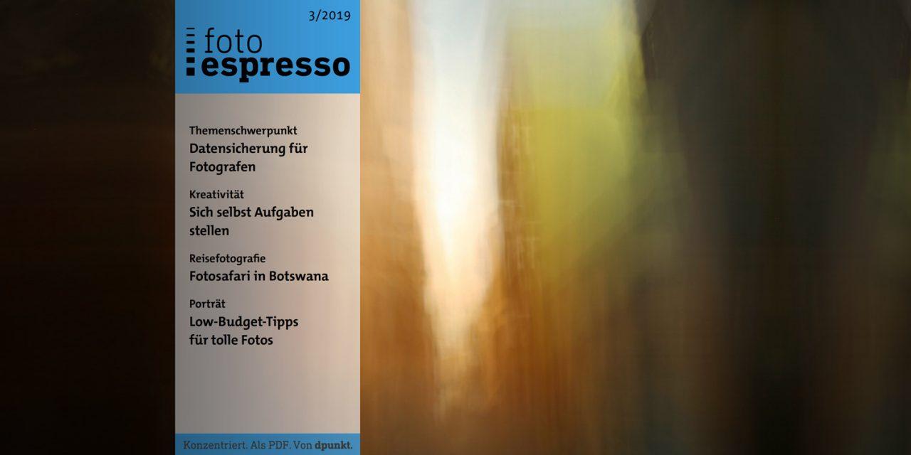 """Gratismagazin fotoespresso 3/2019 mit Themenschwerpunkt """"Datensicherung"""""""