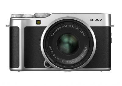 FUJIFILM_X-A7_silver_front_Lens