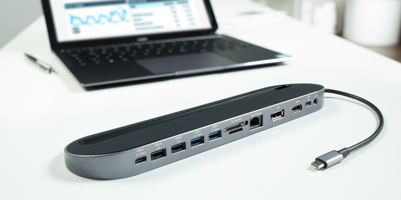 Hama 12in1-USB-C-Docking-Station schafft genügend Anschlüsse