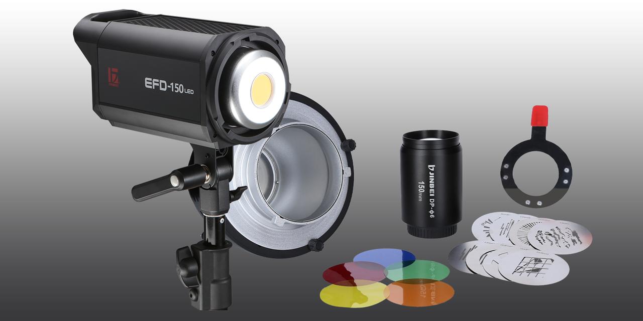 Neu von Jinbei: LED-Dauerlicht EFD-150 und DP-Ø6 Fokus-Spotvorsatz
