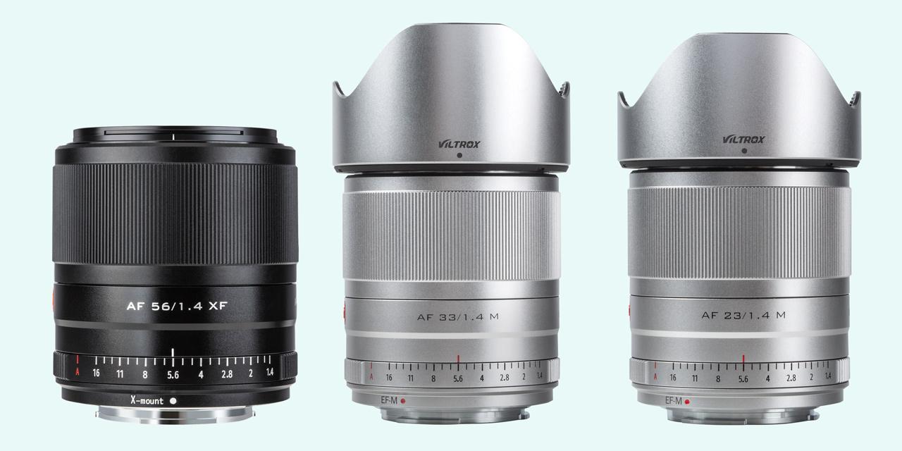 Neu von Viltrox: AF 56mm f/1.4 für Fuji X-Mount, AF-23mm f/1.4 und AF-33mm f/1.4 für Canon EF-M