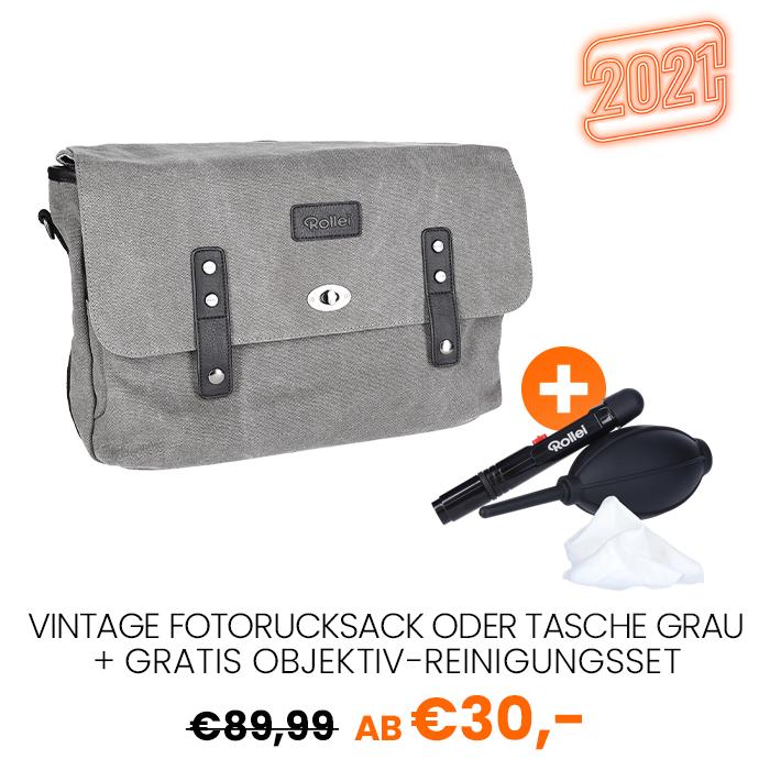 23 Fotorucksack Vintage oder Tasche grau