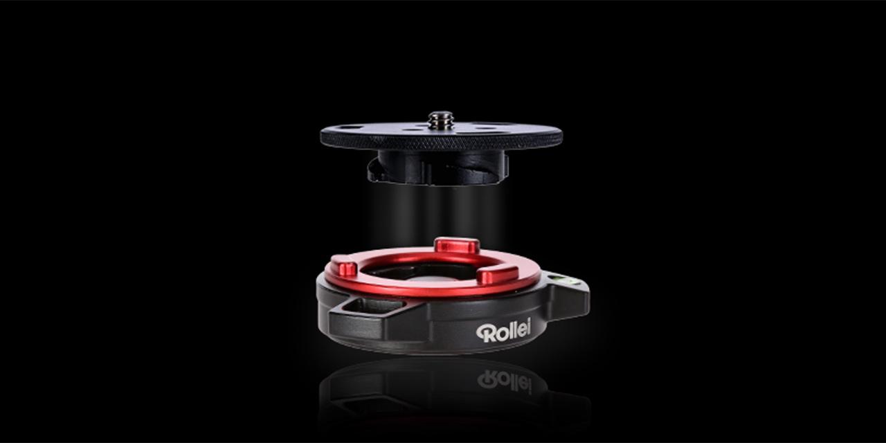 Rollei Schnellwechselsystem: Kamera mitsamt Stativkopf auf ein neues Stativ montieren